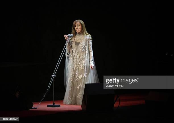 Lebanese diva Fairuz performs during a rare concert in Beirut on October 7 2010 AFP PHOTO/JOSEPH EID
