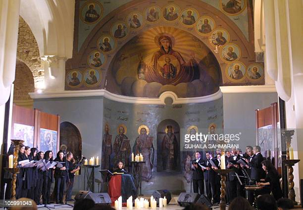 Lebanese diva Fairuz performs in the newly renovated Greek Orthodox St George church in down town Beirut on Good Friday 25 April 2003 The church is...