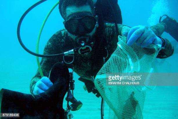 Lebanese divers take part in cleaning the seabed off the coastal city of Batroun north of Beirut on October 14 2017 The Lebanese divers plunge below...