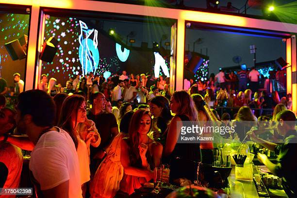 Lebanese drink and dance in Sky Bar night club on July 21 2013 in Beirut Lebanon Sky Bar is a world famous rooftop club and probably the trendiest...