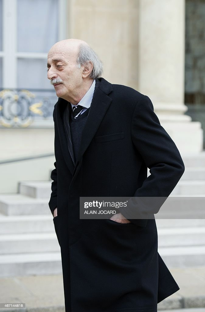 Lebanese Druze leader and Lebanese Progressive Socialist Party (PSP) chairman Walid Jumblatt leaves after a meeting with French President Francois Hollande at the Elysee palace, on March 21, 2015, in Paris.