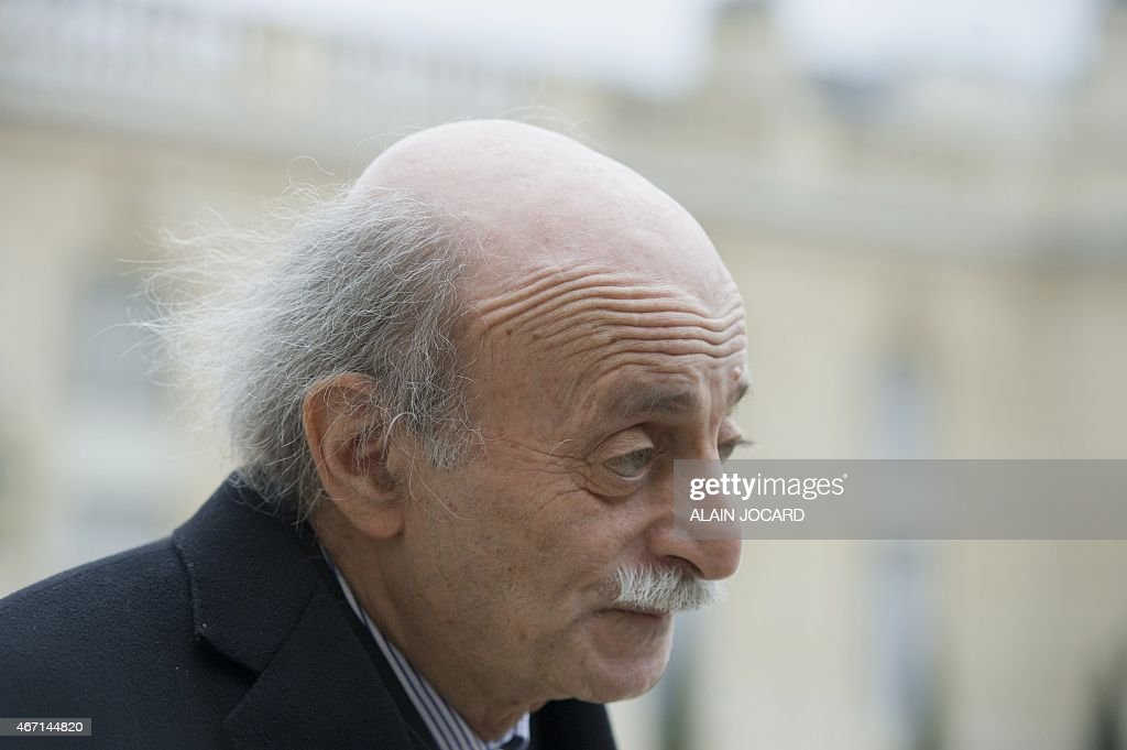 Lebanese Druze leader and Lebanese Progressive Socialist Party (PSP) chairman <a gi-track='captionPersonalityLinkClicked' href=/galleries/search?phrase=Walid+Jumblatt&family=editorial&specificpeople=228719 ng-click='$event.stopPropagation()'>Walid Jumblatt</a> leaves after a meeting with French President Francois Hollande at the Elysee palace, on March 21, 2015, in Paris.
