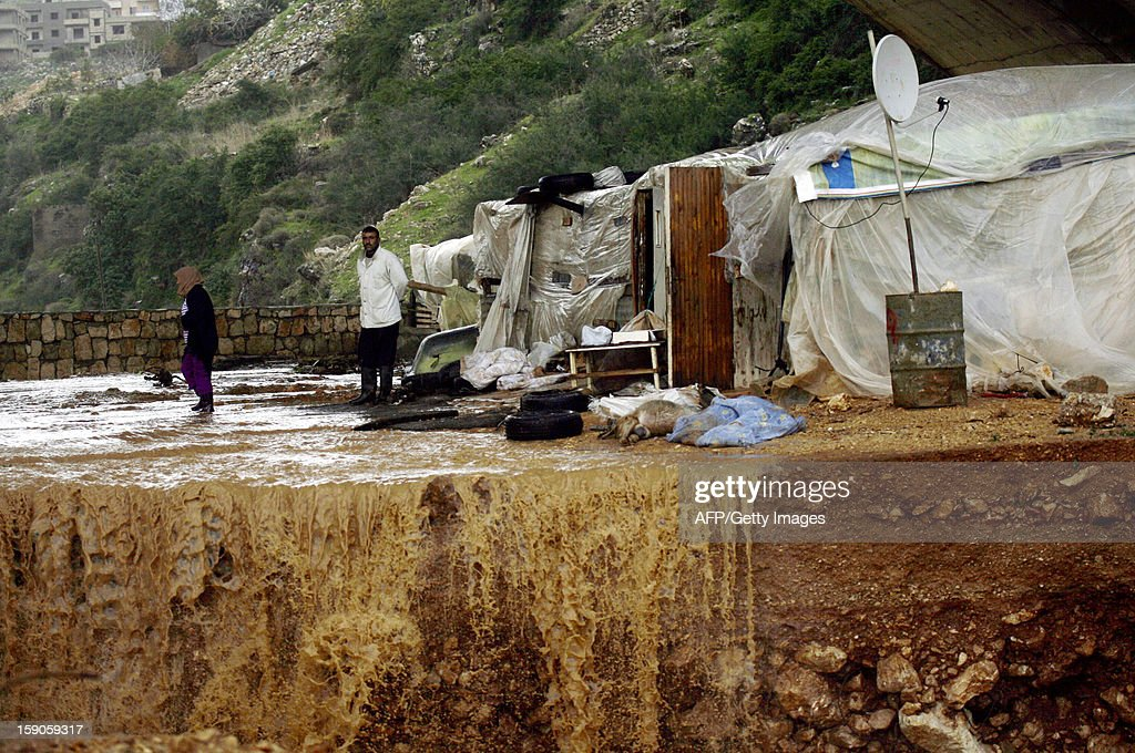 A Lebanese farmer stands near his dead goats after his herd was by hit heavy rains and big wind on January 7, 2013 in the Lebanese southern city of Jadra. Heavy rains have hit the region making six people injured in Israel.