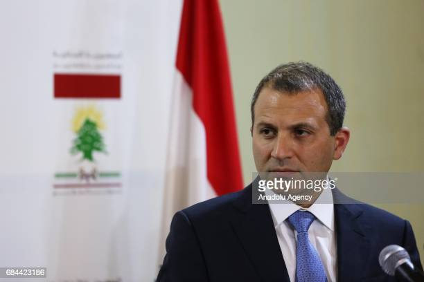 Lebanese Foreign Minister Gebran Bassil and Italian Foreign Minister Angelino Alfano hold a press conference after their meeting at Foreign Ministry...