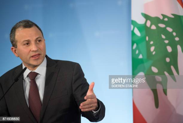 Lebanese Foreign Minister Gebran Bassil speaks during a joint press conference with his German counterpart on November 16 2017 in Berlin / AFP PHOTO...