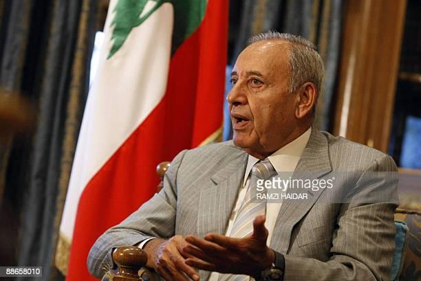 Lebanese former parliament speaker Nabih Berri gestures as he speaks with an AFP journalist at his office in Beirut on June 24 2009 Berri who is...