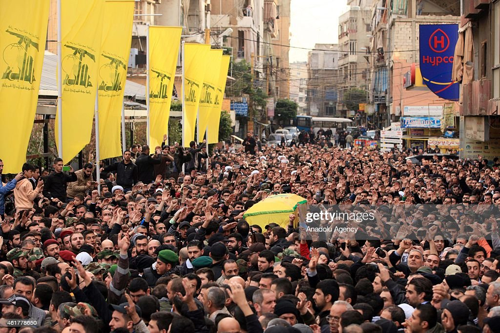 Lebanese Hezbollah supporters carry the coffin of Jihad Mughniyeh son of Hezbollah's commander Imad Mughniyah and killed by Israeli air strike on...