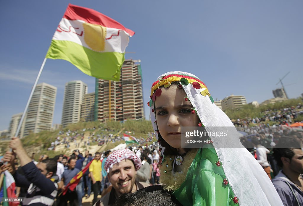 Lebanese Kurds celebrate Noruz in the capital, Beirut, on March 21, 2013. The Persian New Year is an ancient Zoroastrian tradition celebrated by Iranians and Kurds which coincides with the vernal (spring) equinox and is calculated by the solar calender. AFP PHOTO/JOSEPH EID