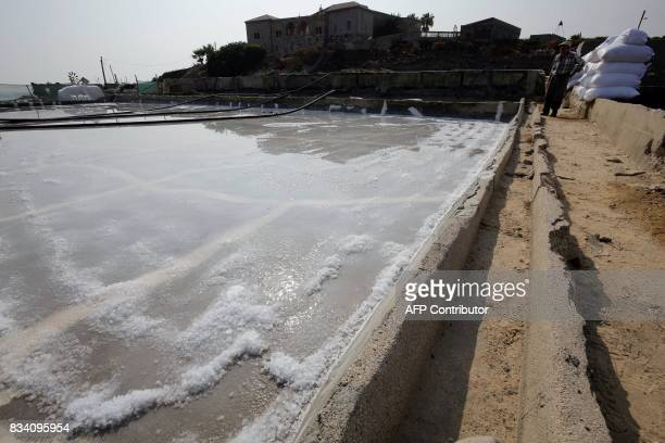 A Lebanese man works at salt evaporation ponds in the coastal Lebanese town of Anfeh north of the capital Beirut on July 21 2017 Traditional coastal...