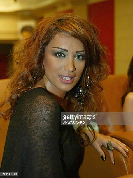 Lebanese Maya Diab a member of the 'Four Cats' group poses during the releasing of the group's new CD titled 'Antar' during a meeting with the press...