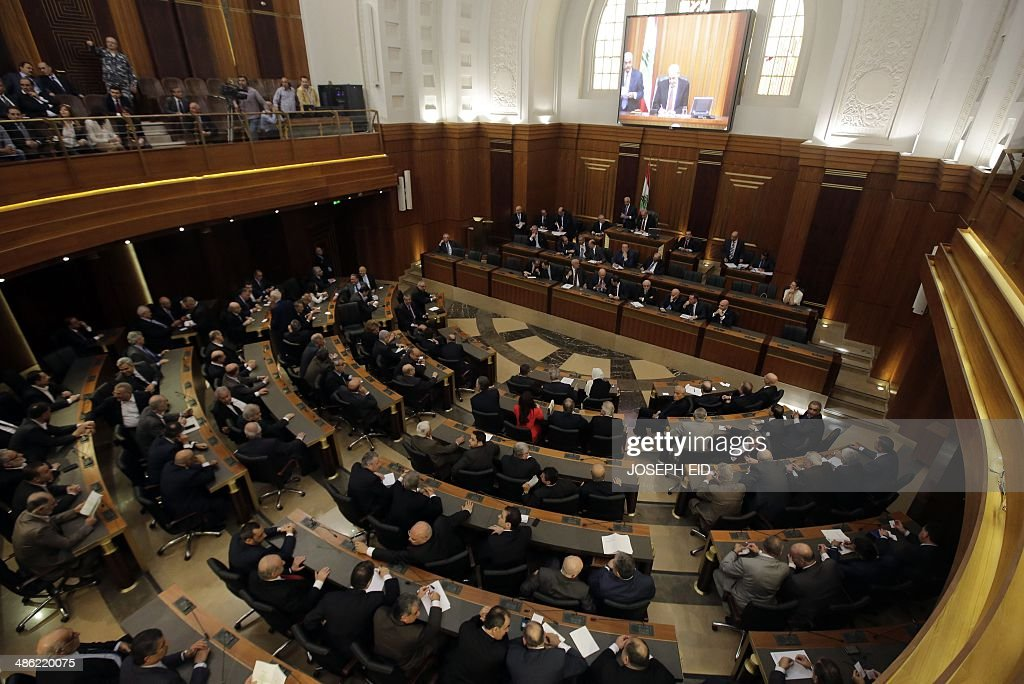 Lebanese members of parliament gather to elect the new Lebanese president in the parliament building in downtown Beirut on April 23 2014 Lebanon's...