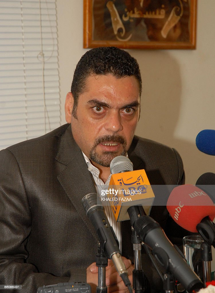Lebanese militant and former prisoner in Israel Samir Kantar speaks during a press conference in Sanaa on April 21, 2009, at the end of his visit to Yemen. Kantar attended the Palestinian Prisoner Day festival and met with Yemeni President Ali Abdullah Saleh.