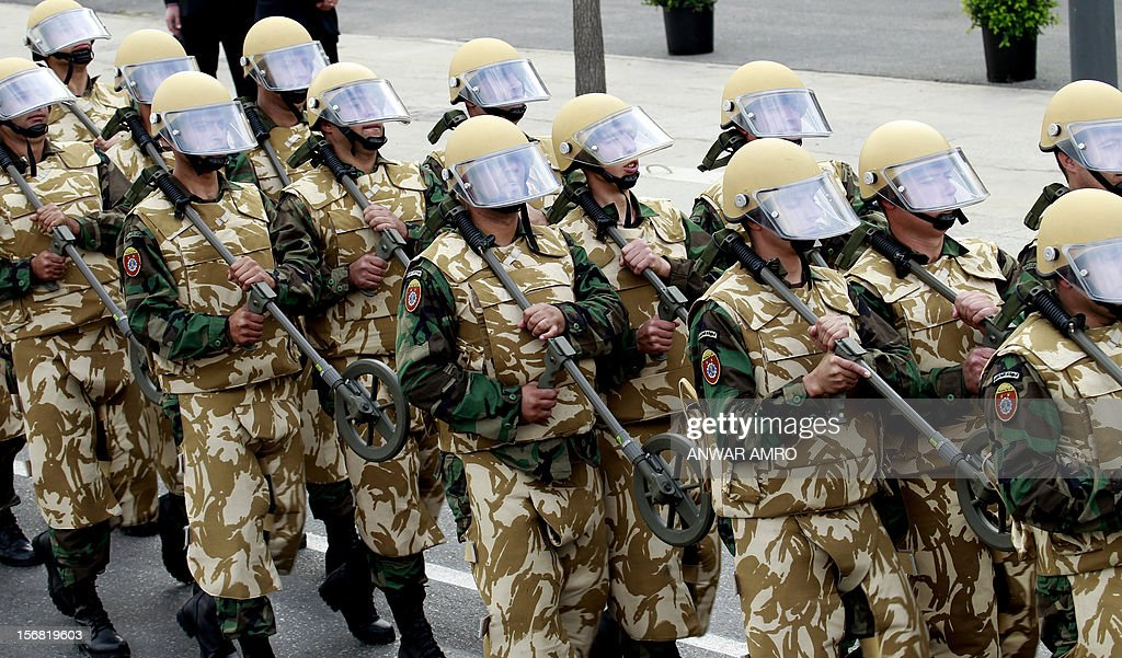Lebanese mine clearing brigade march during a military parade marking Lebanon's 69th Independence Day in central Beirut on November 22, 2012. Lebanon, a former French mandate, won its independence on November 22, 1943, ending a two-decade rule by France.