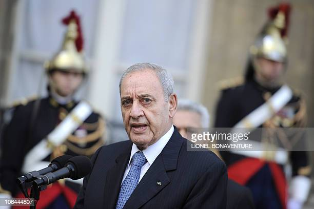 Lebanese national Assembly President Nabih Berri speaks to journalists after talks with French President Nicolas Sarkozy at the presidential Elysee...