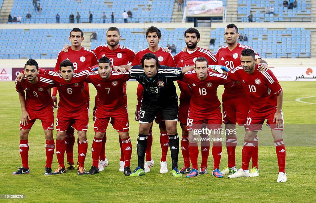 Lebanese national team players pose for a picture prior to their Asian Cup 2015 Qualifiers match against Thailand at Sports City Stadium in Beirut on March 22, 2013.