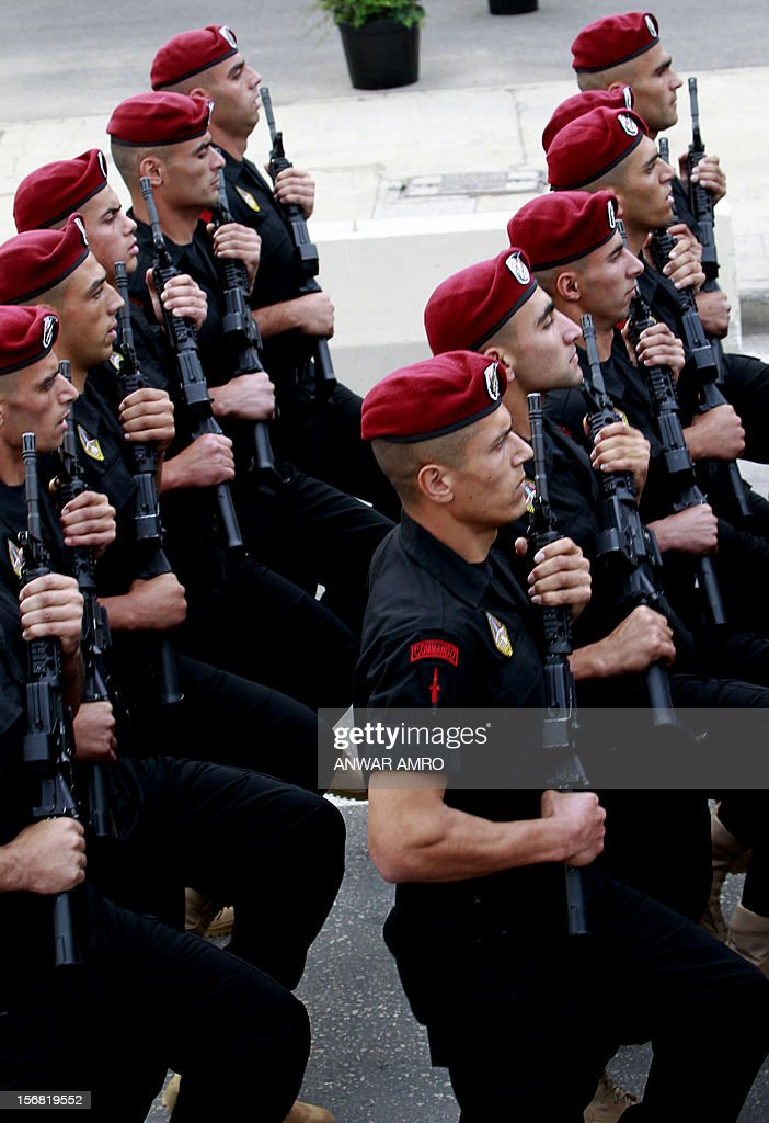 Lebanese naval forces march during a military parade marking Lebanon's 69th Independence Day in central Beirut on November 22, 2012. Lebanon, a former French mandate, won its independence on November 22, 1943, ending a two-decade rule by France. AFP PHOTO / ANWAR AMRO