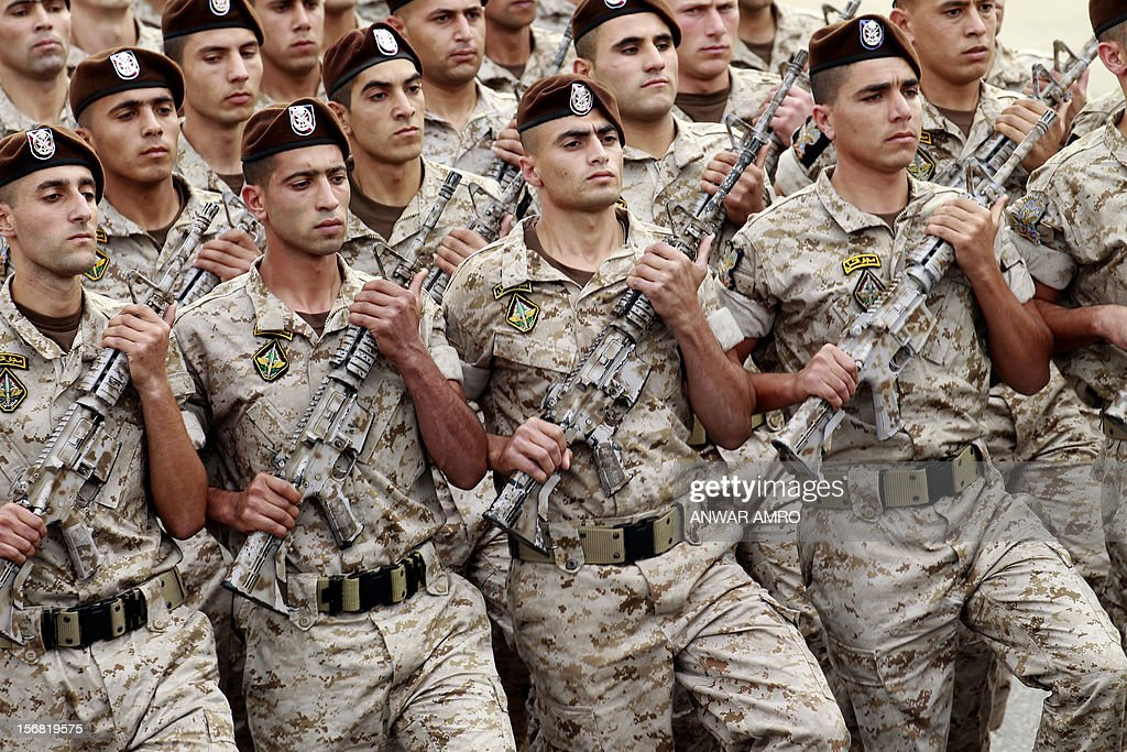 Lebanese naval forces march during a military parade marking Lebanon's 69th Independence Day in central Beirut on November 22, 2012. Lebanon, a former French mandate, won its independence on November 22, 1943, ending a two-decade rule by France.