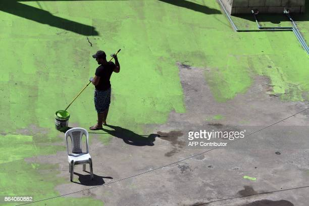 Lebanese painters take part in a project that aims to draw the word Peace in Arabic across 85 rooftops in Tripoli's Syria street which separetes the...