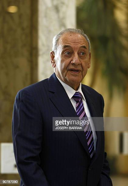 Lebanese parliament speaker Nabih Berri arrives at the Baabda presidential palace east of Beirut to attend consultations for appointing a prime...