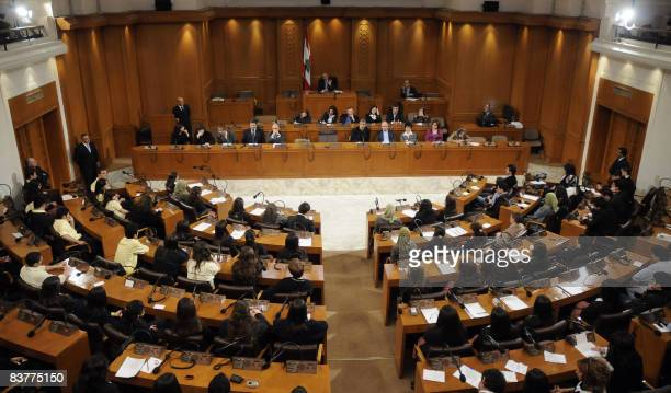 Lebanese Parliament Speaker Nabih Berri directs a parliament session with high school students acting as MPs in downtown Beirut on November 21 2008...