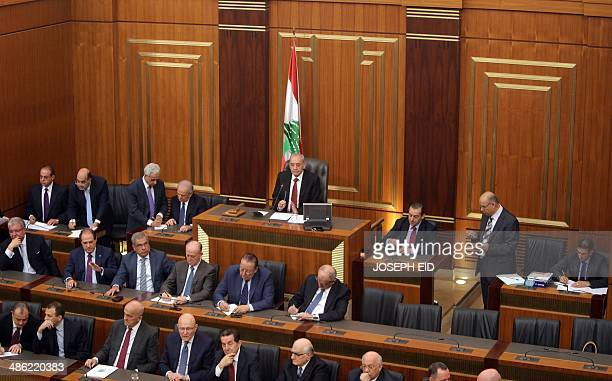 Lebanese parliament speaker Nabih Berri gather with members of parliament to elect the new Lebanese president in the parliament building in downtown...