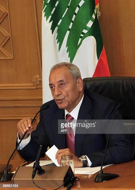 Lebanese Parliament speaker Nabih Berri speaks at a parliament session to elect the house speaker in Beirut on June 25 2009 Shiite leader Nabih Berri...