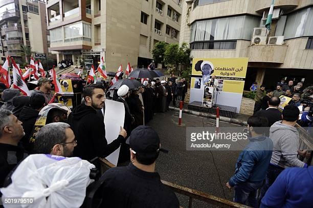 Lebanese people gather to protest after Sheikh Ibrahim ElZakzakywho was arrested on sunday in Nigeria in Beirut Lebanon on December 19 2015 Sheikh...