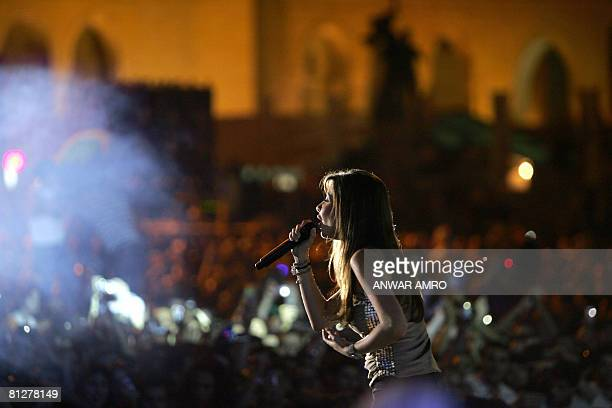 Lebanese pop singer Nancy Ajram performs during a concert to celebrate the election of a new Lebanese president after a long political crisis in...