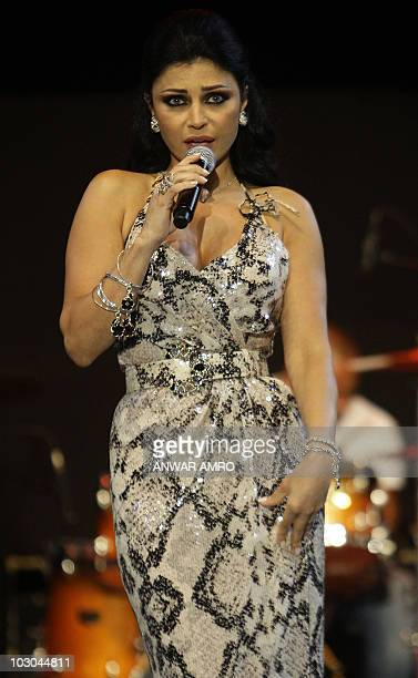 Lebanese pop star Haifa Wehbe performs during the Batroun International Festival in the coastal city of Batroun north of Beirut late on July 22 2010...