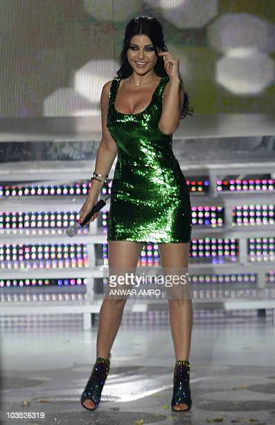 Lebanese pop star Haifa Wehbe performs during the Miss Lebanon 2010 beauty pageant at the studios of the Lebanese Broadcasting Corporation...