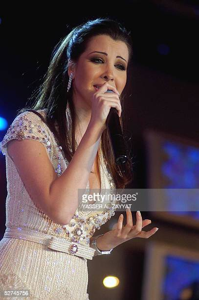 Lebanese pop star Nancy Ajram performs after being chosen by Newsweek's Arabic edition as one of the most influential people in the Arab world during...
