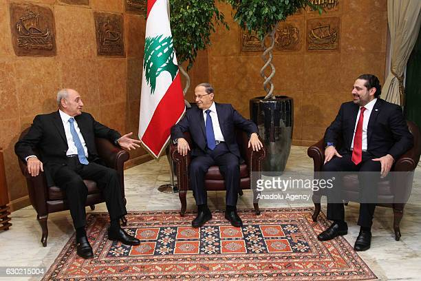 Lebanese President Michel Aoun Lebanese Prime Minister Saad Hariri and Lebanese Parliament Speaker Nabih Berri meet to discuss government formation...