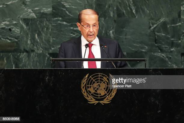 Lebanese President Michel Aoun speaks to world leaders at the 72nd United Nations General Assembly at UN headquarters in New York on September 21...