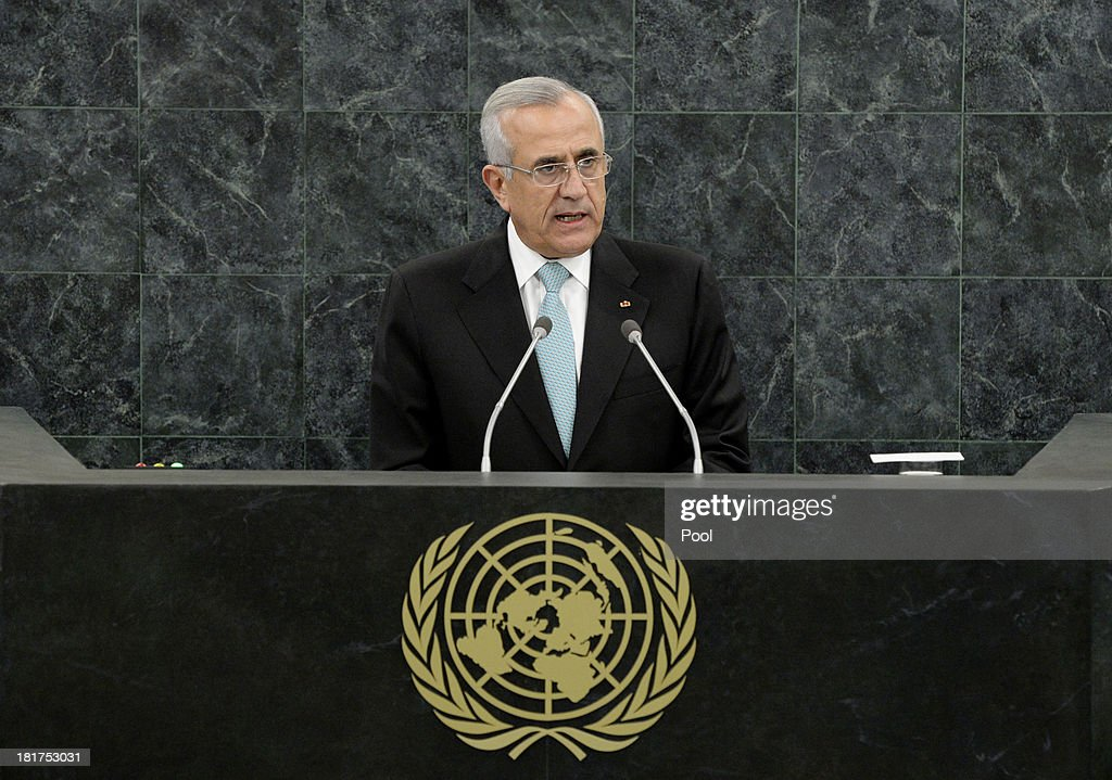 Lebanese President <a gi-track='captionPersonalityLinkClicked' href=/galleries/search?phrase=Michel+Sleiman&family=editorial&specificpeople=2069358 ng-click='$event.stopPropagation()'>Michel Sleiman</a> addresses the U.N. General Assembly on September 24, 2013 in New York City. Over 120 prime ministers, presidents and monarchs are gathering this week for the annual meeting at the temporary General Assembly Hall at the U.N. headquarters while the General Assembly Building is closed for renovations.