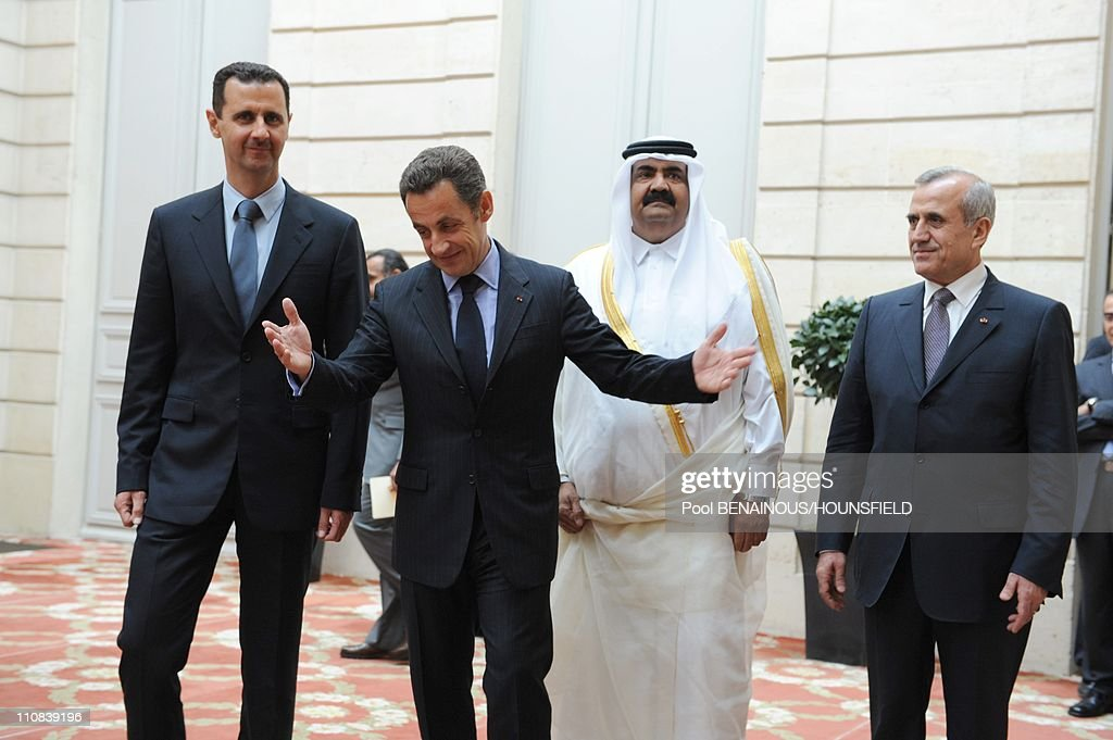 Lebanese President Michel Sleiman, Qatari Emir Hamad Bin Khalifa Al Thani, French President <a gi-track='captionPersonalityLinkClicked' href=/galleries/search?phrase=Nicolas+Sarkozy&family=editorial&specificpeople=211375 ng-click='$event.stopPropagation()'>Nicolas Sarkozy</a> And Syrian President Bashar Al-Assad Attend A Press Conference At The Elysee Palace On The Eve Of Paris, In Paris, France On July 12, 2008 - Lebanese president Michel Sleiman, Qatari Emir Hamad Bin Khalifa Al Thani, French president <a gi-track='captionPersonalityLinkClicked' href=/galleries/search?phrase=Nicolas+Sarkozy&family=editorial&specificpeople=211375 ng-click='$event.stopPropagation()'>Nicolas Sarkozy</a> and Syrian President Bashar Al-Assad attend a press conference at the Elysee Palace on July 12, 2008 in Paris, on the eve of the Paris summit of the Mediterranean countries - Leaders from some 40 countries -- rich and poor, foes and friends -- meet in Paris on Sunday to launch the Union for the Mediterranean, a flagship project of <a gi-track='captionPersonalityLinkClicked' href=/galleries/search?phrase=Nicolas+Sarkozy&family=editorial&specificpeople=211375 ng-click='$event.stopPropagation()'>Nicolas Sarkozy</a> - .