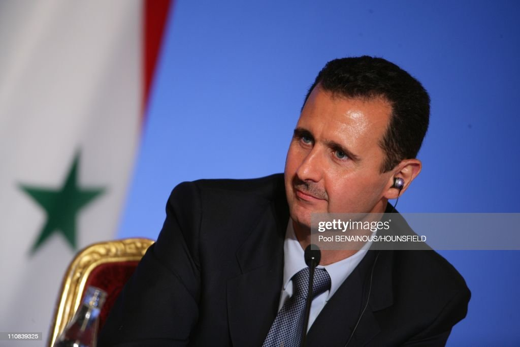 Lebanese President Michel Sleiman, Qatari Emir Hamad Bin Khalifa Al Thani, French President Nicolas Sarkozy And Syrian President Bashar Al-Assad Attend A Press Conference At The Elysee Palace On The Eve Of Paris, In Paris, France On July 12, 2008 - Lebanese president Michel Sleiman, Qatari Emir Hamad Bin Khalifa Al Thani, French president Nicolas Sarkozy and Syrian President Bashar Al-Assad attend a press conference at the Elysee Palace on July 12, 2008 in Paris, on the eve of the Paris summit of the Mediterranean countries - Leaders from some 40 countries -- rich and poor, foes and friends -- meet in Paris on Sunday to launch the Union for the Mediterranean, a flagship project of Nicolas Sarkozy - Syrian President Bashar Al-Assad.