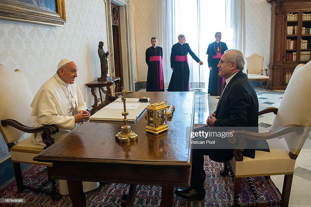 Lebanese President Michel Suleiman meets with <a gi-track='captionPersonalityLinkClicked' href=/galleries/search?phrase=Pope+Francis&family=editorial&specificpeople=2499404 ng-click='$event.stopPropagation()'>Pope Francis</a> at his private library on May 3, 2013 in Vatican City, Vatican.