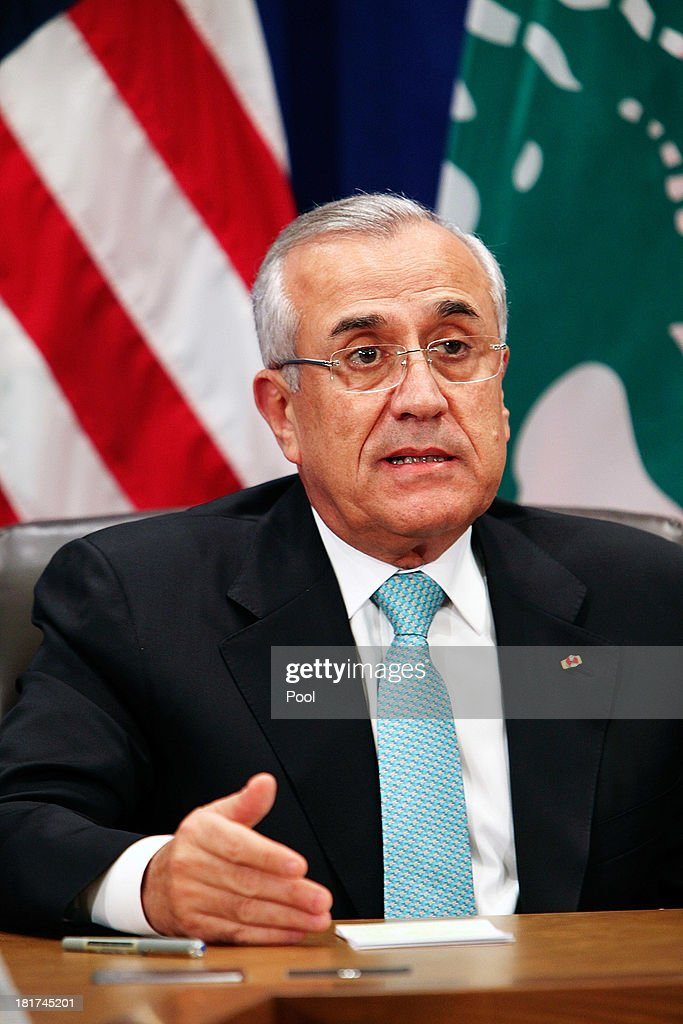 Lebanese President Michel Suleiman speaks during a bilateral meeting with U.S. President Barack Obama at the U.N. headquarters on September 24, 2013 in New York City. Over 120 prime ministers, presidents and monarchs are gathering this week for the annual meeting at the temporary General Assembly Hall at the U.N. headquarters while the General Assembly Building is closed for renovations.