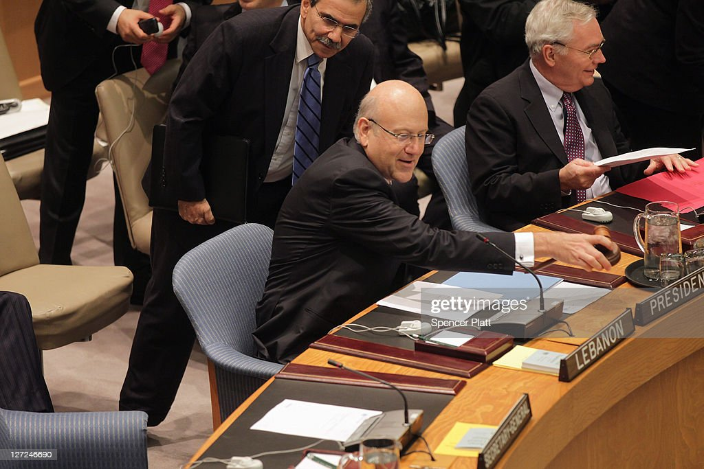 Lebanese Prime Minister Najib Mikati chairs a meeting of the United Nations Security Council on September 27, 2011 in New York City. The global body met to discuss the situation in the Middle East, including the Palestinian bid for statehood.