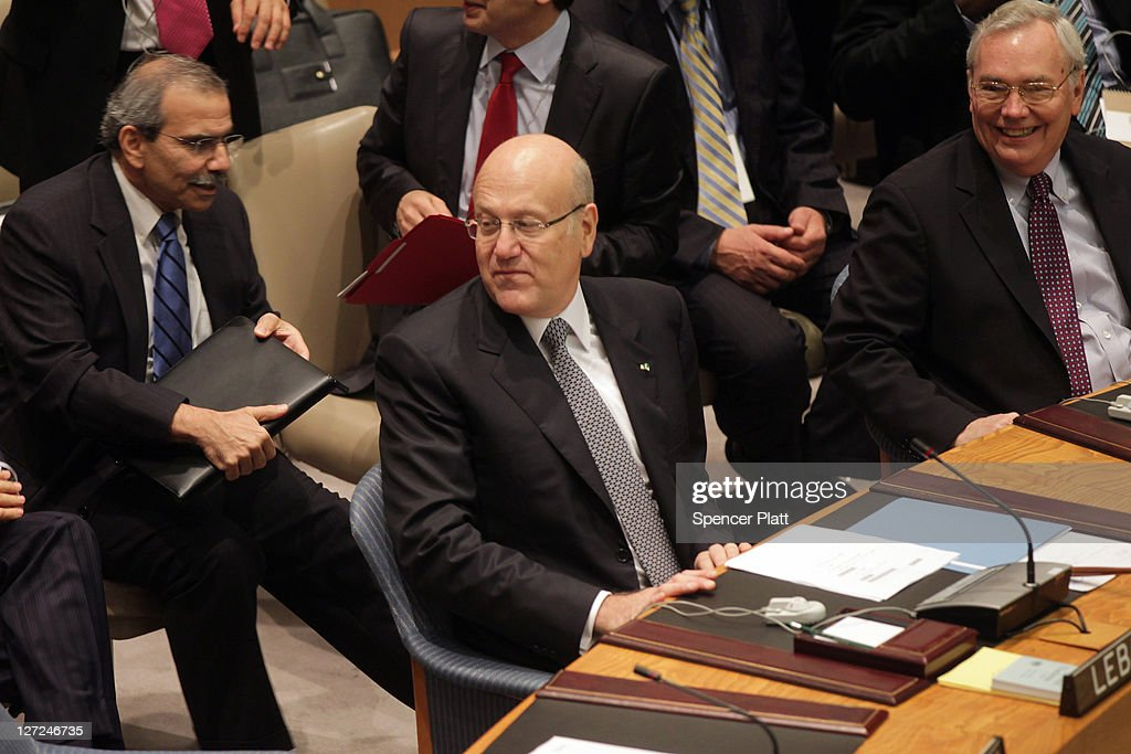 Lebanese Prime Minister <a gi-track='captionPersonalityLinkClicked' href=/galleries/search?phrase=Najib+Mikati&family=editorial&specificpeople=2466031 ng-click='$event.stopPropagation()'>Najib Mikati</a> chairs a meeting of the United Nations Security Council on September 27, 2011 in New York City. The global body met to discuss the situation in the Middle East, including the Palestinian bid for statehood.