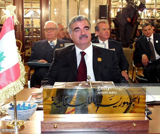 Lebanese Prime Minister Rafiq Hariri looks on at the start of the Arab Summit at the Phoenicia hotel in Beirut 27 March 2002 Arab leaders gather on...