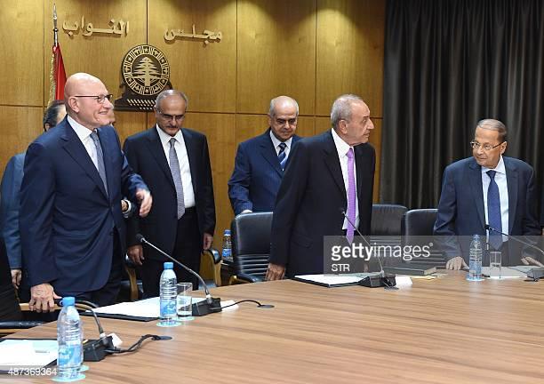 Lebanese Prime Minister Tamam Salam Parliament Speaker Nabih Berri and Free Patriotic Movement Leader Michel Aoun take part in a new round of...