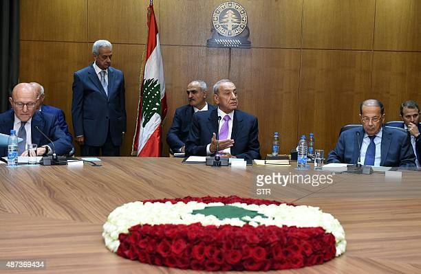 Lebanese Prime Minister Tamam Salam Parliament Speaker Nabih Berri and Free Patriotic Movement Leader Michel Aoun attend a meeting for a new round of...