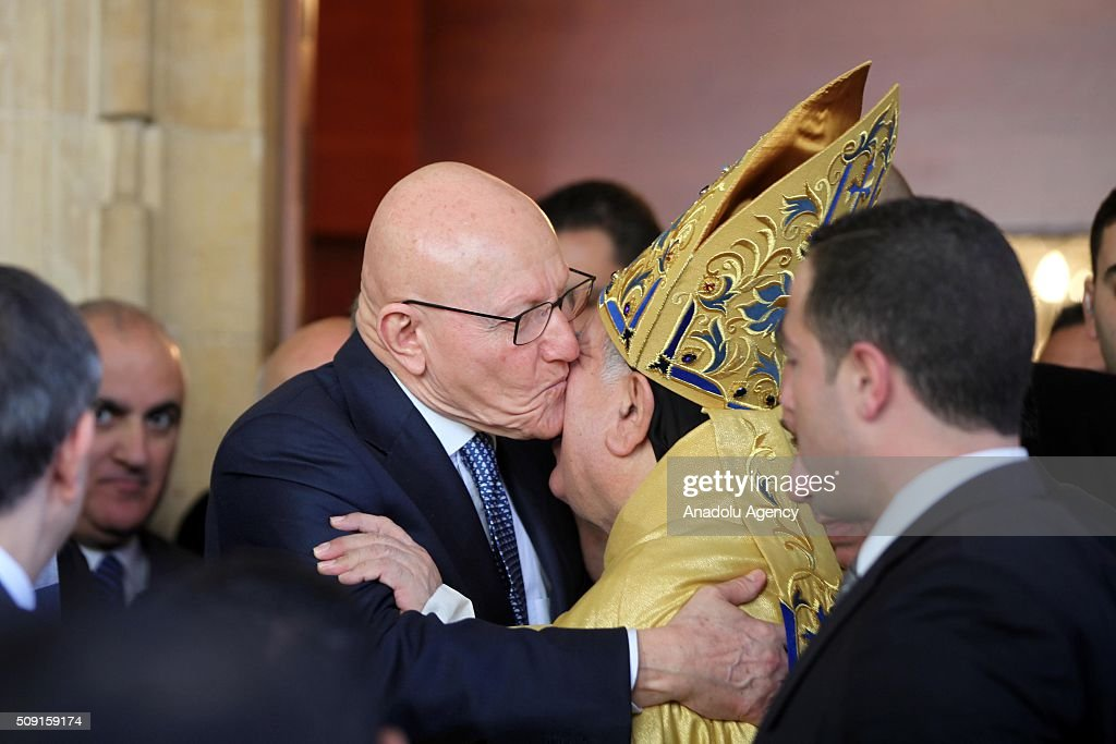 Lebanese Prime Minister Tammam Salam (left), and the Archbishop of Beirut of the Maronites, Boulos Matar (right 2) attend a service for Saint Maroun Day at the Maronite Church in Beirut, Lebanon on February 9, 2016.