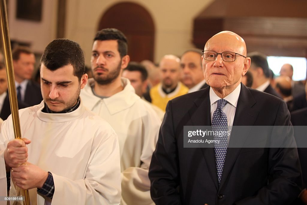 Lebanese Prime Minister Tammam Salam (right), attends a service for Saint Maroun Day at the Maronite Church in Beirut, Lebanon on February 9, 2016.