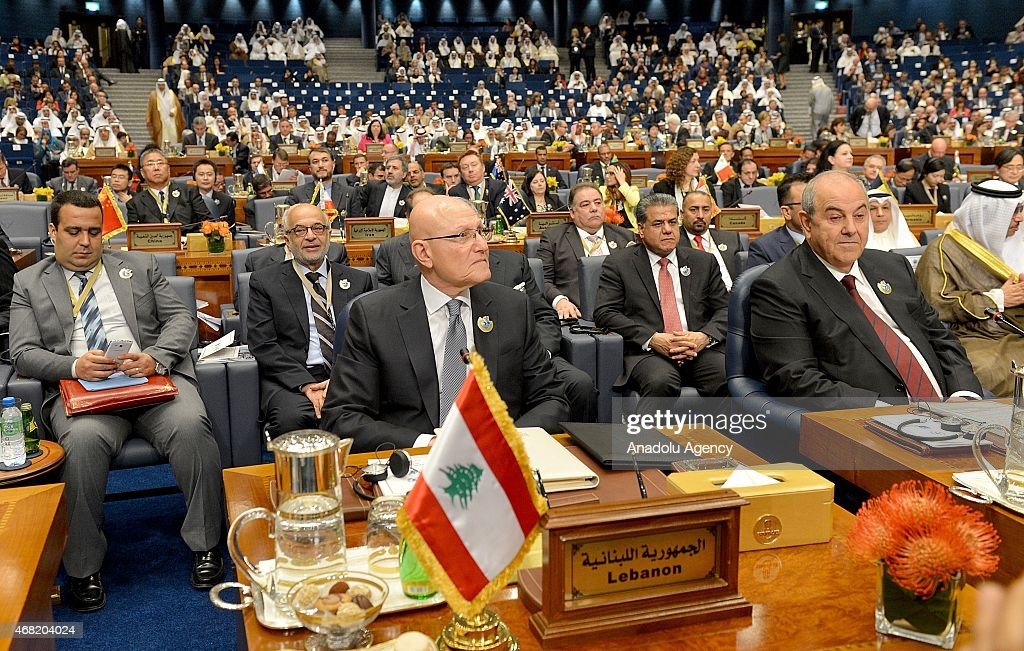 Lebanese prime minister <a gi-track='captionPersonalityLinkClicked' href=/galleries/search?phrase=Tammam+Salam&family=editorial&specificpeople=5769198 ng-click='$event.stopPropagation()'>Tammam Salam</a> attends the 'Third International Pledging Humanitarian Conference for Syria' at the Bayan Palace in Kuwait City, Kuwait on March 31, 2015.