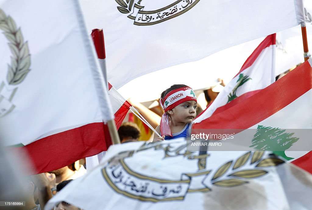 Lebanese protesters gather in support of the Armed Forces in Martyr's Square on Army Day, in downtown Beirut on August 1, 2013. Lebanon marked the 68th anniversary of the establishment of its army with a gathering called for by civil society groups.