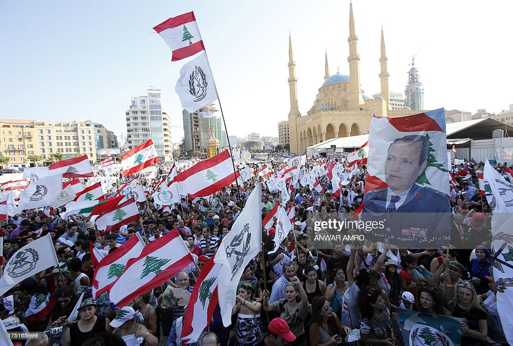 Lebanese protesters gather in support of the Armed Forces in Martyr's Square, in downtown Beirut on August 1, 2013. Lebanon marked the 68th anniversary of the establishment of its army with a gathering called for by civil society groups.