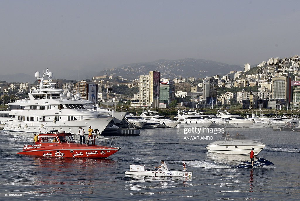 Lebanese rower Shafik Ghazaleh pulls his final strokes as he arrives at Dbayeh marina just north of Beirut on June 6, 2010, following two days of rowing 200 kilometres across from Cape Greco on the Mediterranean island of Cyprus to Lebanon.