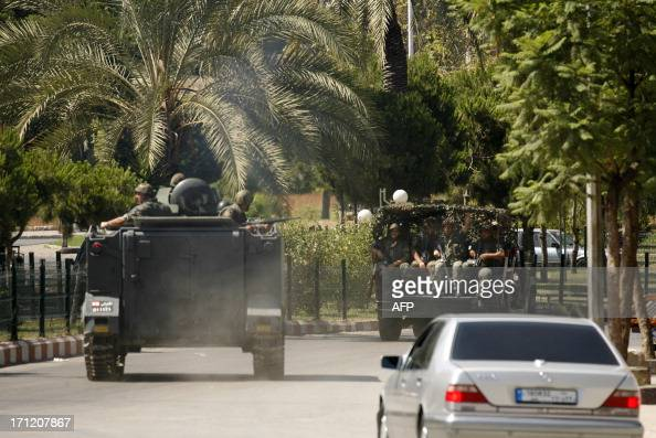 Lebanese security forces are deployed during clashes between Lebanese army personnel and supporters of radical Sunni Muslim sheikh Ahmad alAssir who...